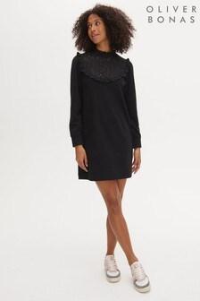 Oliver Bonas Black Broderie Yoke Sweat Mini Jumper Dress