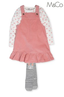 M&Co Pink Cord Pinafore Dress With T-Shirt Set
