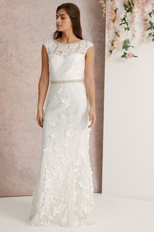 5f5b0975f117 Buy Lipsy Bridal Emily 3D Flower Lace Embroidered Maxi Dress from Next  Australia